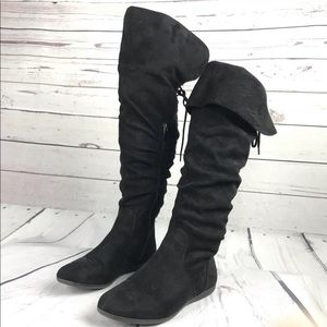 FIRM PRICE ♦️ Aldo Black Faux Suede  Knee Boots